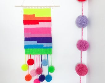 Multicolor Rainbow Weaving Wall Hanging with pom poms - Living room, nursery, wall decor