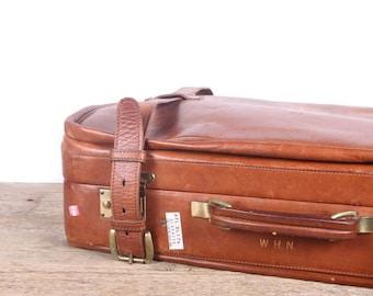 Vintage Tanner Krolle John Mendez Collection Vintage Suitcase / England Antique Brown Leather Suitcase Luggage Bag / Antique Suitcase