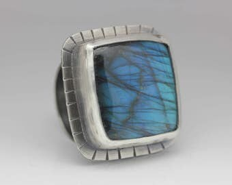 Labradorite and Sterling Ring, Blue Flash Labradorite, Big Labradorite Statement Ring, Size 8.75