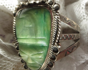 Rare mid-Century NATIVE AMERICAN Cuff with Carved MEXICAN Jade Mask