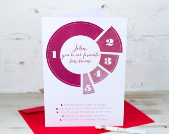 Personalised Favourite Boss Pie Chart Card