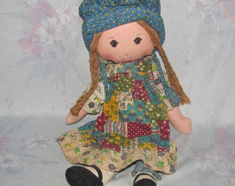 Vintage Holly Hobbie Rag Doll - Larger Size Holly Rag Doll - American Greetings - 16 inches
