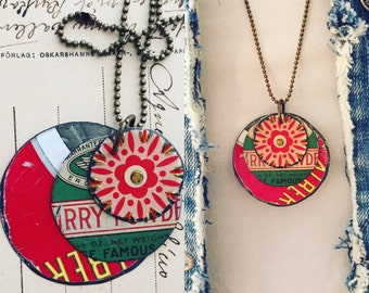 """Tin Jewelry Layered Disc Necklace """"Famous"""" Tin for the Ten Year Tenth Wedding Anniversary"""