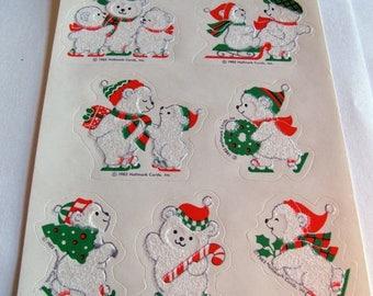 SALE Rare Vintage Hallmark Fuzzy Polar Bears Ice Skating Sticker Sheet - 80's Winter Bear Christmas Snow Tree