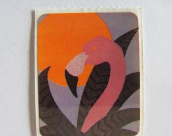 SALE Flamingo Vintage Acard Stickermania Sticker from 1984 - Sunset Scrapbook Palm Tree Retro