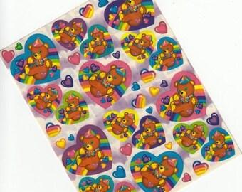 SALE Rare Vintage Lisa Frank Teddy Bear Floating in Hearts Sticker Sheet - 80's Rainbow Heart Collectible Cartoon Illustration