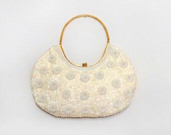 Beaded Bag. La Regale Handbag. Hand Beaded Purse. White Beaded Bag. Holiday Bag. Vintage Purse. Evening Bag. Ivory Beaded Bag. Floral Purse.