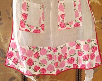 60s sheer rose print apron