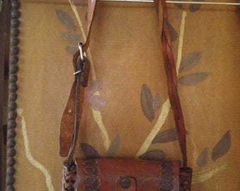 70s leather hand tooled little hand bag