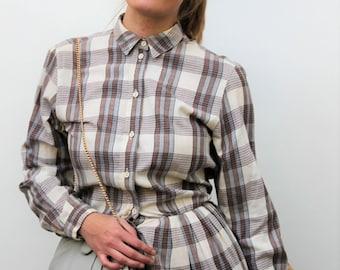 Cream Check Button Down Midi Dress Size UK 12, US 8, EU 40