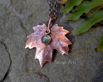 Copper Maple Leaf Necklace with Labradorite- Elven- Artisan Handcrafted With a Real Leaf - Woodland - Forest - Fairy -Botanical