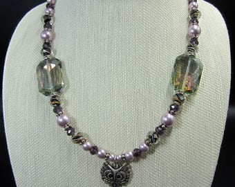 Mystic Owl Purple Glass Bead Necklace