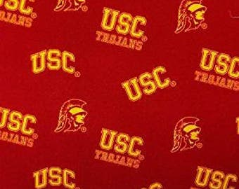 """Fat Quarter Only (18""""x22"""") of USC Trojans Allover Fabric - Southern California Trojans"""