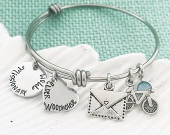 NEW! Missionary Mom Bangle Bracelet - LDS Jewelry Hand Stamped by Eight9Designs
