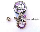Hospice  NURSE Personalized Name Charm Retractable Badge Reel Holder Id Reel w/ Charms Caduceus Beads Id tag,  5 Colors to pick
