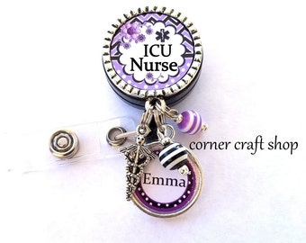 ICU NURSE Personalized Name Charm Retractable Badge Reel Holder Id Reel w/ Charms Caduceus Beads Id tag,  5 Colors to pick