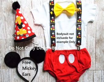 Mickey Mouse Birthday outfit cake smash MM suspenders FREE Ears diaper cover bow tie costume Red Hat 6 9 12 18 24 toddler SALE