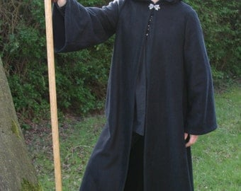Legendary Hooded Elven Coat, Cloak with Sleeves - Celtic Clasp - Large & XL Extra Large in Brown or Large in Black