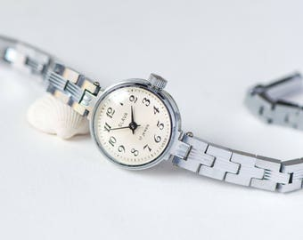 Small lady's watch bracelet Glory, never used round women's wristwatch, cocktail watch silver shade, vintage jewelry watch for women gift
