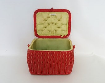 Vintage Cherry Red Wicker Sewing Basket Tartan Plaid Fabric Covered Lid Sewing Basket Lined Woven  Basket large Red handled basket