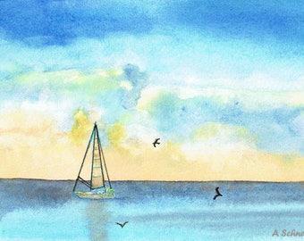 Watercolor Print, Seascape, Sailboat, Wall Decor