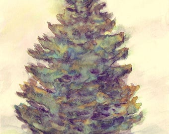 Watercolor Print, Landscape, Pine Tree, Wall Decor