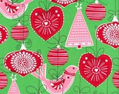 SHOP CLOSING SALE Christmas fabric for quilt or craft Michael Miller Ornaments for All in Green Half yard