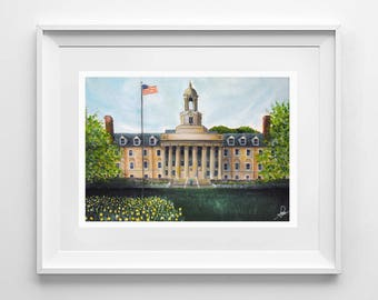 Penn State University | Old Main | Giclee Art Print | Various Sizes Available