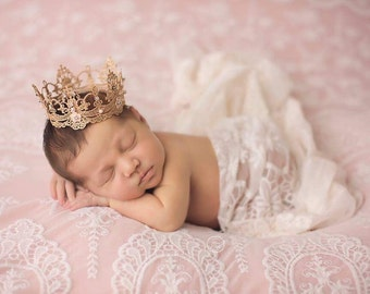 Lace Crown, Newborn Gold Crown, Baby Crown, Girl Crown, Dainty Lace Crown, Photo Prop, Baby Prop, Newborn Prop, Princess Crown, Small Crown