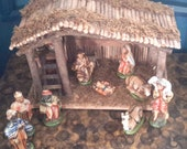 Vintage Nativity Handpainted Ceramic Figures Wood Crèche 10 Figures