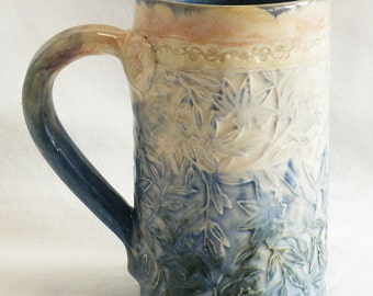 ceramic floral coffee mug 16oz  stoneware 16C021