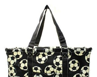 Monogrammed Soccer All purpose Utility Tote -Teacher Tote Bag - Beach Bag - Gym Bag - Monogrammed Tote Bag - Custom Utility Car Tote