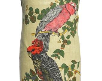 Metro Retro AUSTRALIAN COCKATOOS -  Birds  Vintage Tea Towel Handmade Apron -  Mother's Day . Birthday Gift  . OOAK
