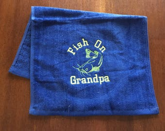 Personalized Fishing, Fishing towel, personalized towel, camping, fish, Fathers Day, embroidered, camping towel, catfish, bass or trout fish