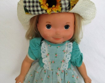 """60% OFF, Summer SALE Vintage 1977 My Friend Mandy Doll with Blonde Hair and Original Hat by Fisher Price 16"""" doll 210"""