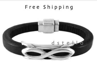 Infinity bracelet - Men's infinity bracelet - Infinity jewelry - Thick leather cuff with antique silver infinity symbol - Handmade in Spain