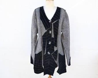long jacket felted wool, unique art to wear, M size grey and black fleece, steamed wool fabric, warm lightweight wearable art artsy woman A4