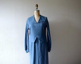 1930s wool dress . vintage blue 30s dress