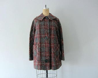 50% SALE . Vintage 1950s tweed coat . vintage 50s plaid jacket