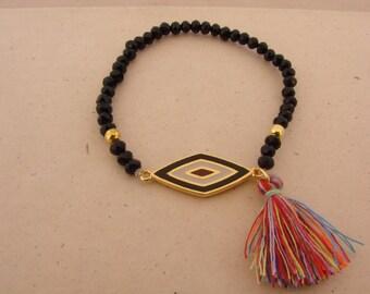 Black Rhombus bordeaux Handmade Evil Eye Tassel Bracelet Greek Mati