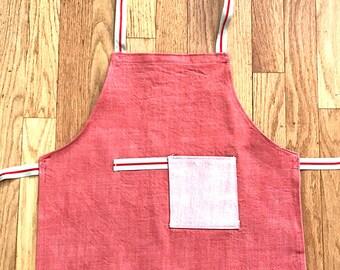 Kids Denim Apron Salmon Red with Pocket - Apron Children Crafts Cooking