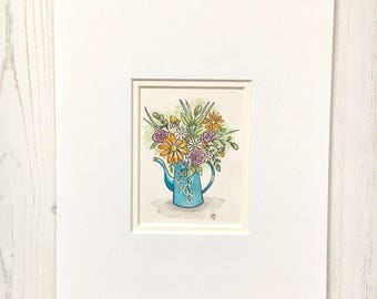 Floral Still Life, Watercolour Original, Blue Jug