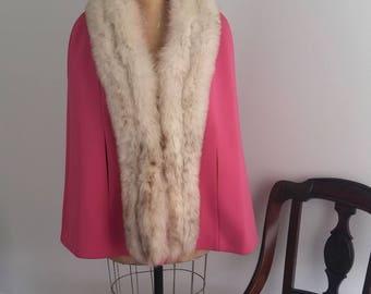 Vintage 50s/60s LillI Ann Paris / San Francisco Pink Fur Collared Cape