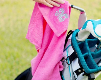 Pink Golf Towel - Women's Gift - Monogram Golf Towel - Sports Towel  - Gift for Her - Personalized Towel - Golf Towel - Mother's Day Gift