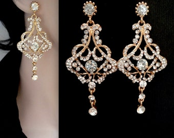 Gold chandelier earrings ~ Brides earrings ~ Long~ Crystal rhinestone earrings ~ Gold statement earrings ~ Wedding jewelry ~ EVA