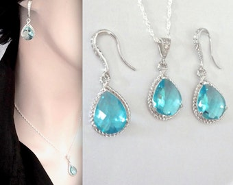 Aquamarine necklace and earring set - Something blue ~ Teardrop set - Sterling Silver - Brides Jewelry set - March birthstone - Gift