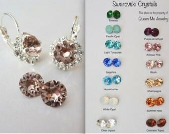 Blush crystal earrings ~ Swarovski vintage rose, crystal earrings, Halo, Brides earrings, Wedding earrings, Bridesmaids earrings, SOPHIA