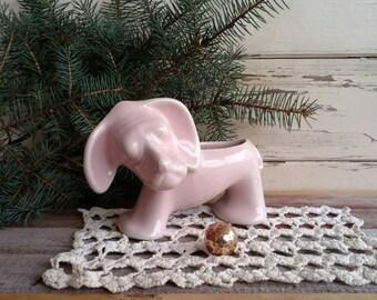 Vintage Beagle Pink Planter - Antique Puppy Dog Plant Holder, Ceramic Art Planter, Windowsill Garden, Retro Herb Garden, Figural Dog Pottery