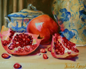 Still life art print of JUST PICKED POMEGRANATES, orange and blue, Classic still life, oil on canvas, painting, art
