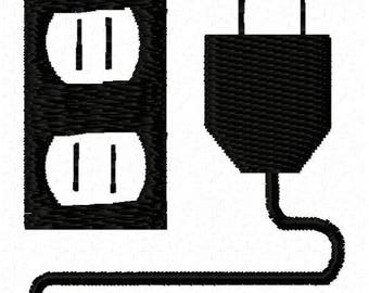 Electrical Outlet Machine Embroidery Design - Instant Download